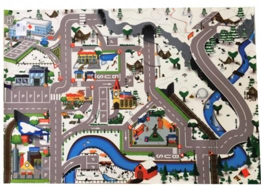 detsky koberec zimni mesto silnice